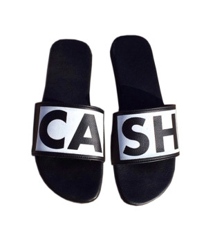 leather sandal cash black