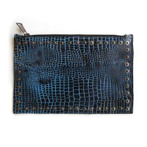 bag pouch blue croc