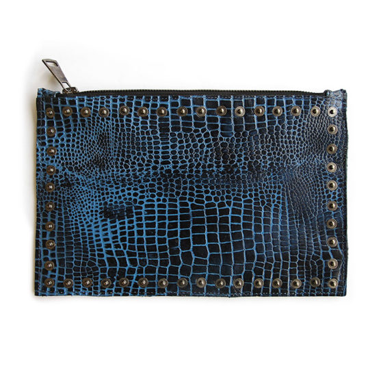 bag pouch blue croc